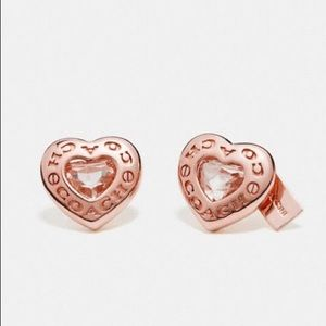 COACH OPEN HEART STUD EARRINGS ROSE GOLD NEW BOX